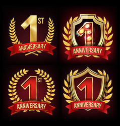 one year anniversary banner set 1 age sign vector image
