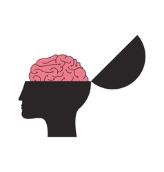 Open human head and brain icon vector