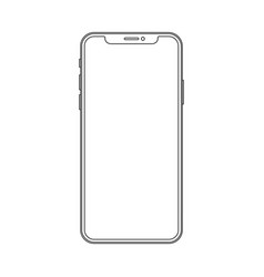 Outline line drawing modern smartphone elegant vector