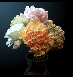 Painted bouquet of multicolored flowers carnation vector