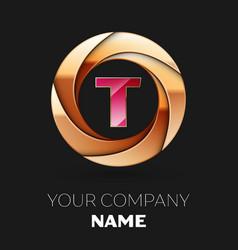 pink letter t logo symbol in golden circle shape vector image