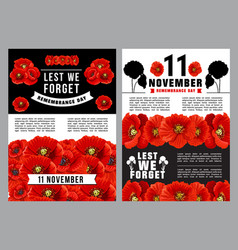 Poppy day lest we forget poster of remembrance day vector