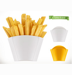 Potato french fries 3d realistic icon vector
