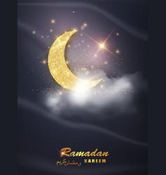 ramadan kareem background with moon stars vector image