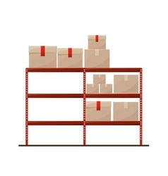 Red shelves with sealed package vector