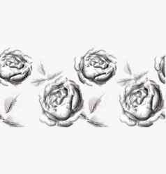 roses flowers line art splash stains effect vector image