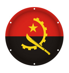 Round metallic flag of angola with screw holes vector