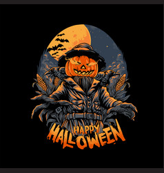 Scarecrow happy halloween horror vector