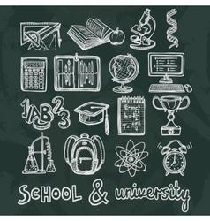 School education chalkboard icons vector