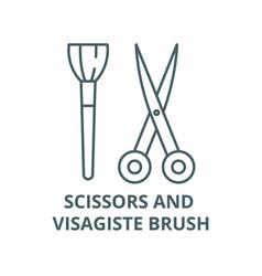 Scissors and visagiste brush line icon vector