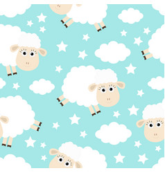 seamless pattern sheep jumping cloud star in the vector image