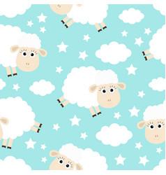 Seamless pattern sheep jumping cloud star vector