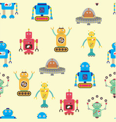 Seamless pattern with robots vector