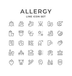 Set line icons of allergy vector