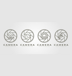 set nature camera lens photography logo symbol vector image