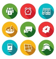 Set of Office Fire Alarm Icons Team Time vector image