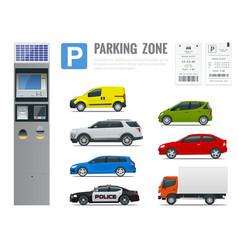 Set of parking payment machine parking receipt vector