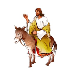 Side view of jesus christ sitting on donkey vector