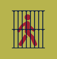 Silhouette of a man in jail sign vector