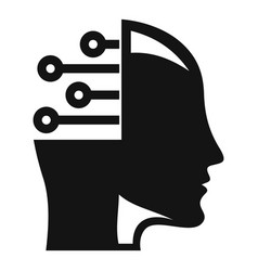 smart ai head icon simple style vector image