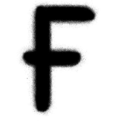 sprayed F font graffiti in black over white vector image