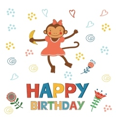 Stylish Happy birthday card with cute monkey vector image