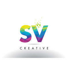 sv s v colorful letter origami triangles design vector image