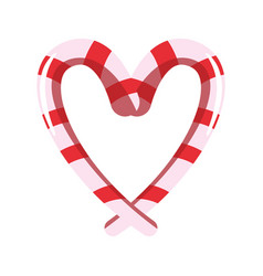 sweet candies cane shaped heart vector image