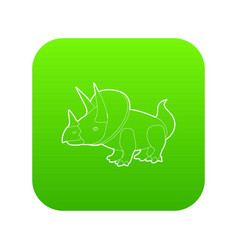 triceratops icon green vector image