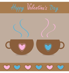 Two teacups with hearts Happy Valentines Day vector