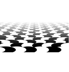 Vanishing checkered surface with circles 3d vector