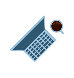 view aerial laptop computer with cup coffee vector image
