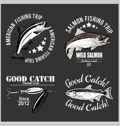 vintage salmon fishing emblem label and design vector image
