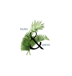 wedind card with green tropical leaves vector image