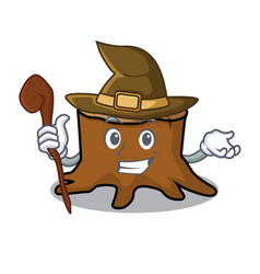 Witch tree stump mascot cartoon vector