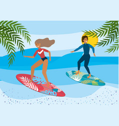 woman and man surfing in surfboards with vector image
