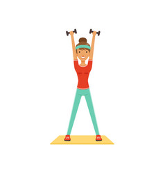 young woman character exercising with dumbbells vector image