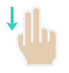 2 finger swipe down flat icon touch and gesture vector image