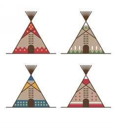 Native american tipis with traditional decor vector image