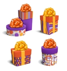 Set Collection of Colorful Celebration Gift Boxes vector image vector image