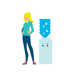 young woman near office water cooler vector image vector image