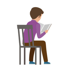 boy spends time by reading book view from back vector image vector image