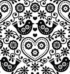 Folk art seamless monochrome pattern with flowers vector image
