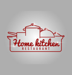 home kitchen restaurant line logo vector image vector image