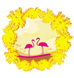 Flamingo couple in wild nature landscape vector image vector image