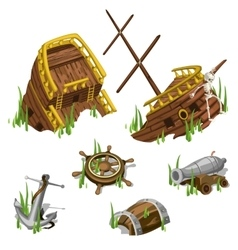 Fragments and parts of a pirate ship isolated vector image vector image