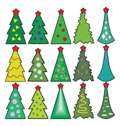 Set of Christmas icons trees in a simplified style vector image