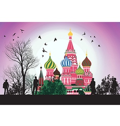 business people flow along the Red Square vector image