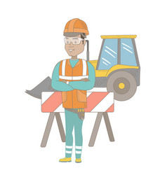 confident hispanic builder with arms crossed vector image
