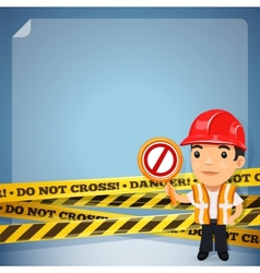 Foreman With Danger Tapes vector image vector image